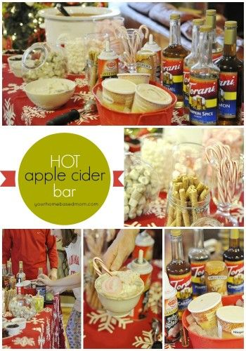 Hot Apple Cider Bar is a fun addition to any holiday party - everyone makes their own flavor combination.
