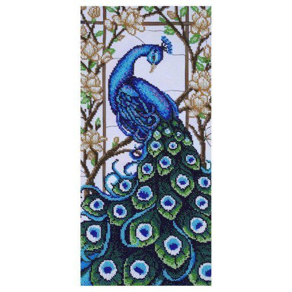 Beaded embroidery kit Peacock DIY embroidery beadwork Needlepoint kit Paradise Bird