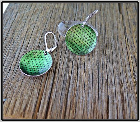 GEOMETRIC GREEN, DYE SUBLIMATION GRAPHIC PRINTED EARRINGS