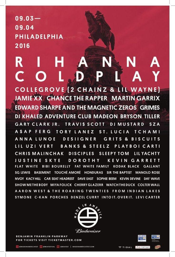 33 best summer music festivals: BUDWEISER MADE IN AMERICA FESTIVAL; September 3-4, 2016.