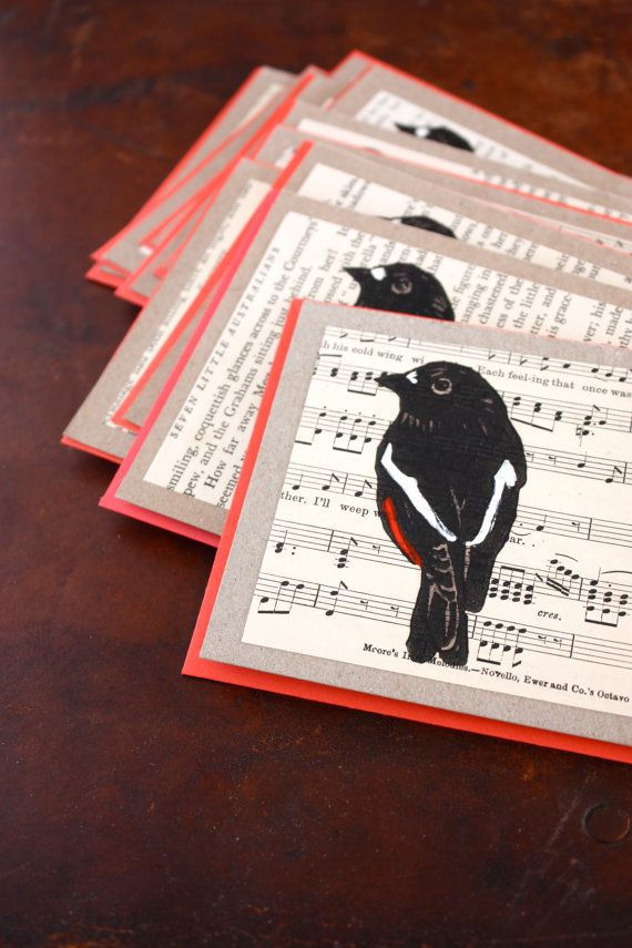Red Robin Lino Print Handmade Greeting Card printed on vintage book pages- Australian Native Bird.  via Etsy. (trees4thewood) store