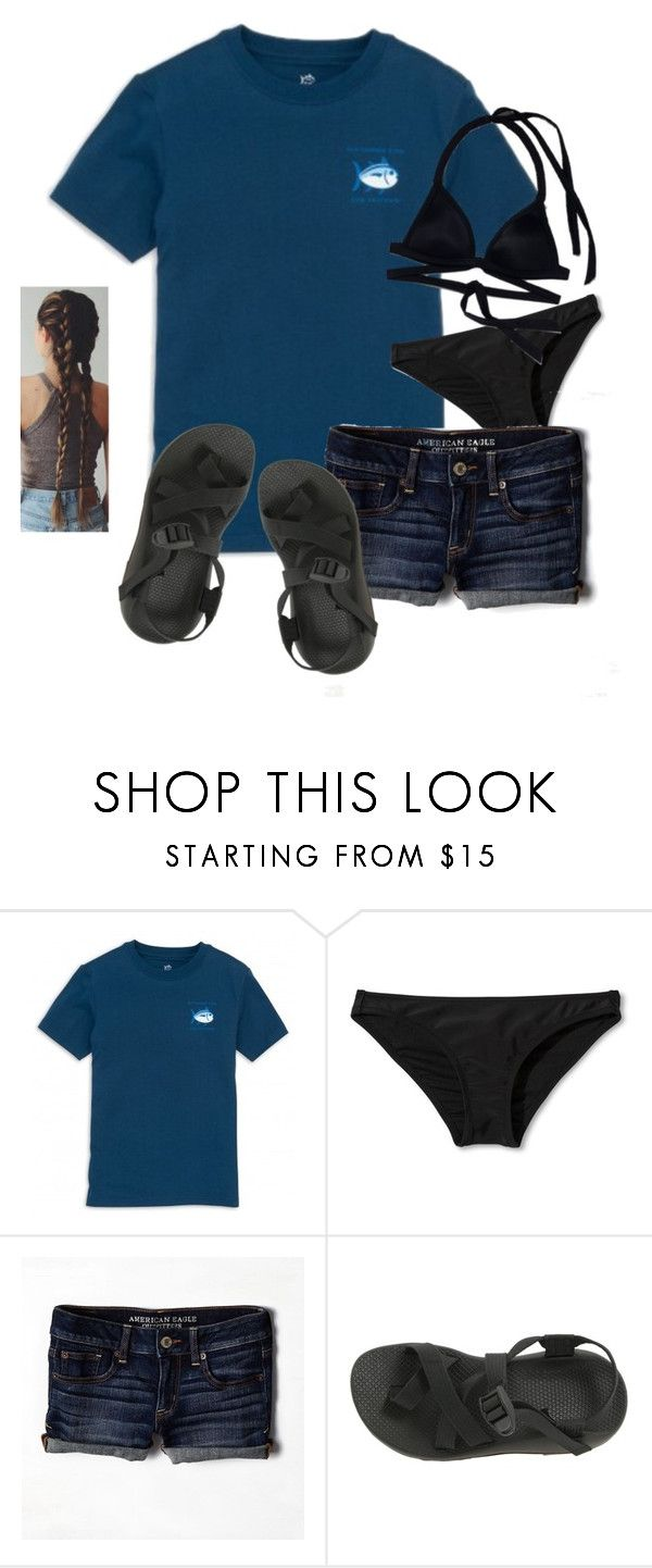 """""""lake ..."""" by mallory-d ❤ liked on Polyvore featuring Xhilaration, American Eagle Outfitters, Chaco and Victoria's Secret PINK"""