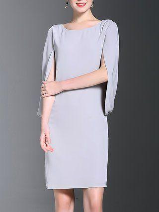Solid H-line Crew Neck Simple Midi Dress