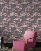 Amidala (Grigio brunastro, Avorio chiaro, Rosè, Viola rossastro) | Carta da parati glamour | Motivi di carta da parati | Carta da parati degli anni 70