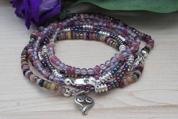 Hematite Necklace Tourmaline Bracelet Purple Amethyst