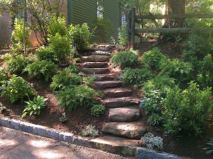 Ideas para ajardinar el patio trasero pendientes | Mejorar el paisaje con los tratamientos de césped y árboles oportunos .