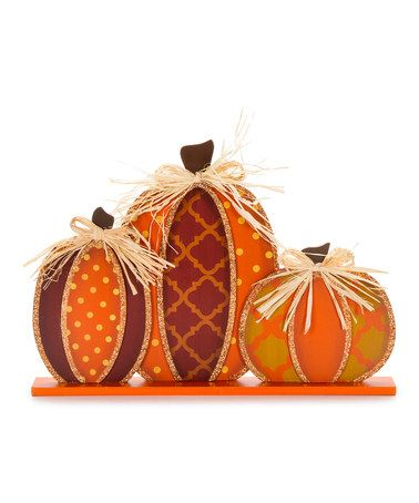 Loving this Fall Pumpkin Table Decoration Set on #zulily! #zulilyfinds
