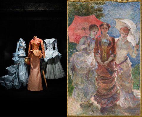 Três vestidos de outono de 2007 Dior Couture coleção de John Galliano; Trois Femmes Aux Ombrelles por Marie Bracquemond