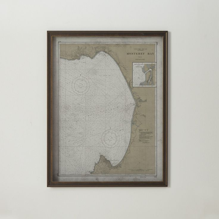 Monterey Map:FRAMED Distressed BLACK & GOLD 20th C. Nautical Map Monterey Bay, California