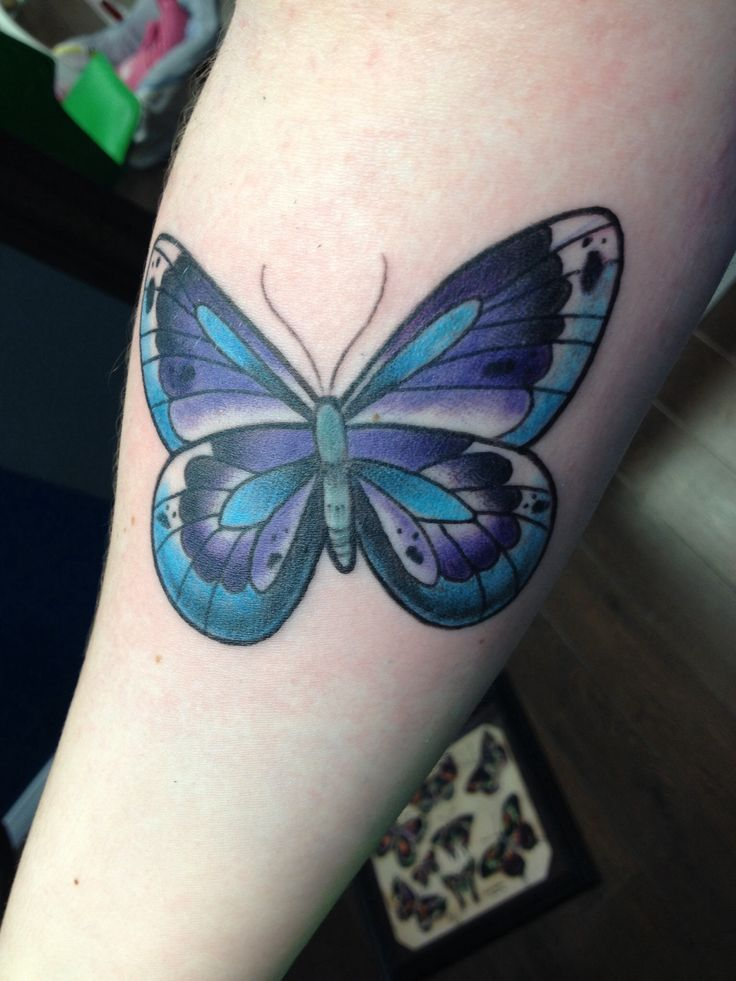 36 best blue and purple butterfly tattoos images on for Purple butterfly tattoo