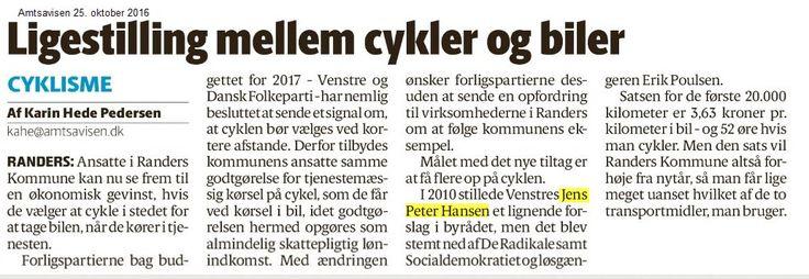 Af artiklen fremgår, at cyklister skulle få 3,65 kr. Den holder dog ikke: Ansatte i Randers kommune får ved tjenestemæssig kørsel den lave sats og vil derfor ved cykling får 1.99 kr/km