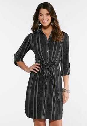 782d421f67e Plus Size Dotted Stripe Shirt Dress Plus Sizes Cato Fashions in 2019 ...