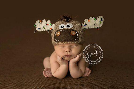 Moose Hat with christmas lights newborn christmas hat, photo prop christmas newborn boy or girl, -Tan, Off-white, brown - Made to Order