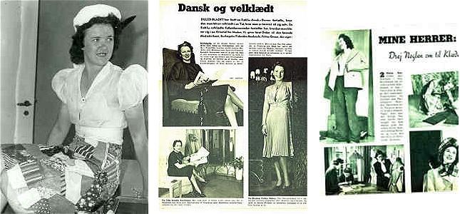 Collage af illustrationer fra dameblade, som viser forskellige modetendenser under besættelsen.