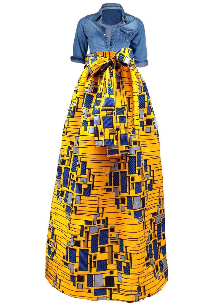 Chic African Print Maxi Skirt (Yellow/Blue)
