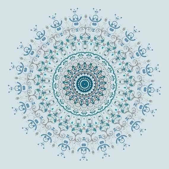 Light Blue Print Powder Room Decor Bathroom Mandala Print Bohemian Room  Decor Dark Teal Home Decor Print Modern Unframed Print Square Poster
