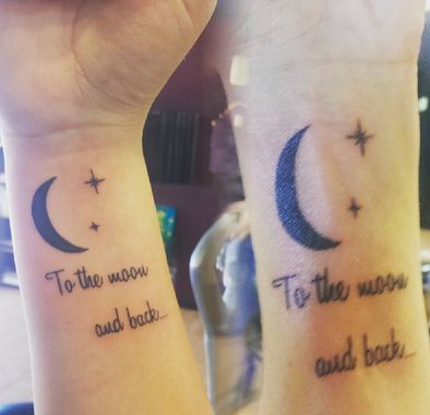 Done by Dawn Webb of Paradise Tattoo in Florida, these sweet moon tattoos have one of the best parent/child sayings ever.