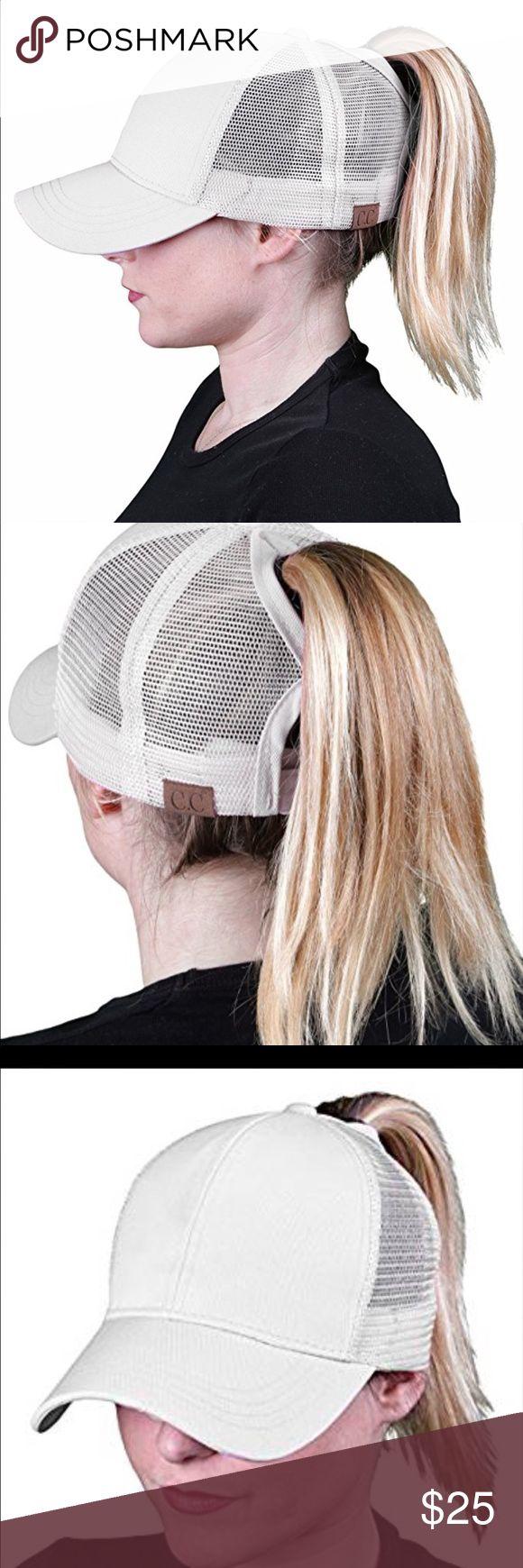 """🆕 Ponycap Messy High Bun Ponytail Mesh Cap One size fits most with adjustable hook and loop fastener. Ponytail slot 3"""" by 5"""". Perfect for pulling your messy bun or high ponytail through. Simply pull hair through slot and adjust to desired style. Even suitable for man buns! This listing is for white. Boutique Accessories Hats"""