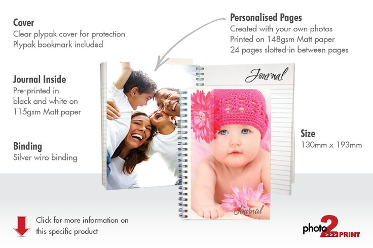 Notebook / Journal - Create a notebook that allows you to carry your memories around with you. There are 14 pages of personal pics spread throughout the notebook. Inside pages printed on 90gsm Bond with image pages printed on 148gsm Matt. The notebook is Wiro bound with plastic Plyplak covers for ultra protection. A Plypak page divider is included.