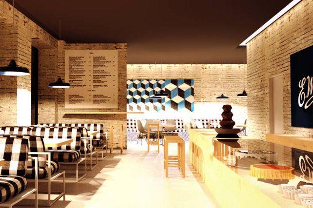 Nowe wnętrza pijalni czekolady Wedla. Minimalizm, cegły i lata 60.
