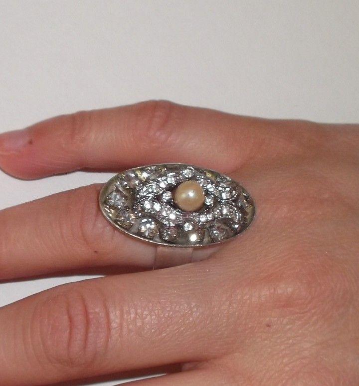 δαχτυλιδι υγρο γυαλι μαργαριταρι στρας 3Χ2