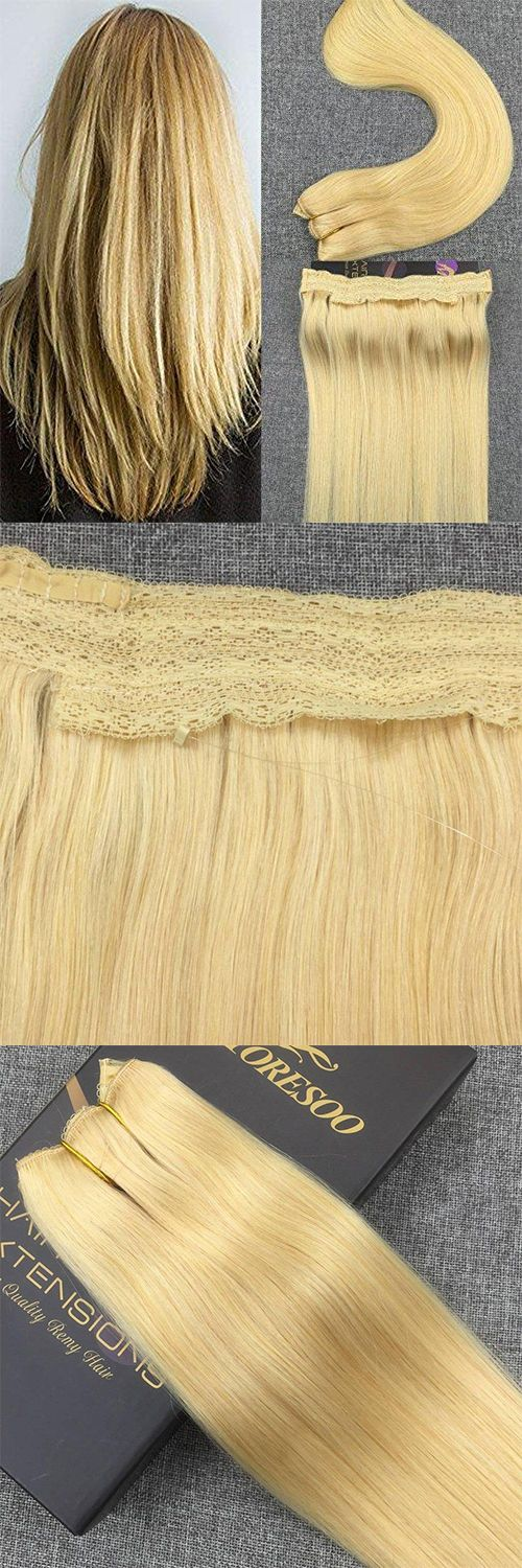Moresoo Flip On Hair Extensions Halo Human Bleach Blonde 613 80 Grams Wire