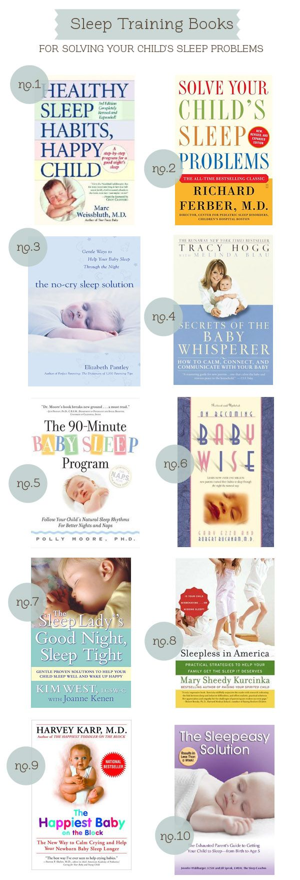Sleep Training Books | hellobee.com  I hope baby E is a good sleeper, but I'm pinning just in case.
