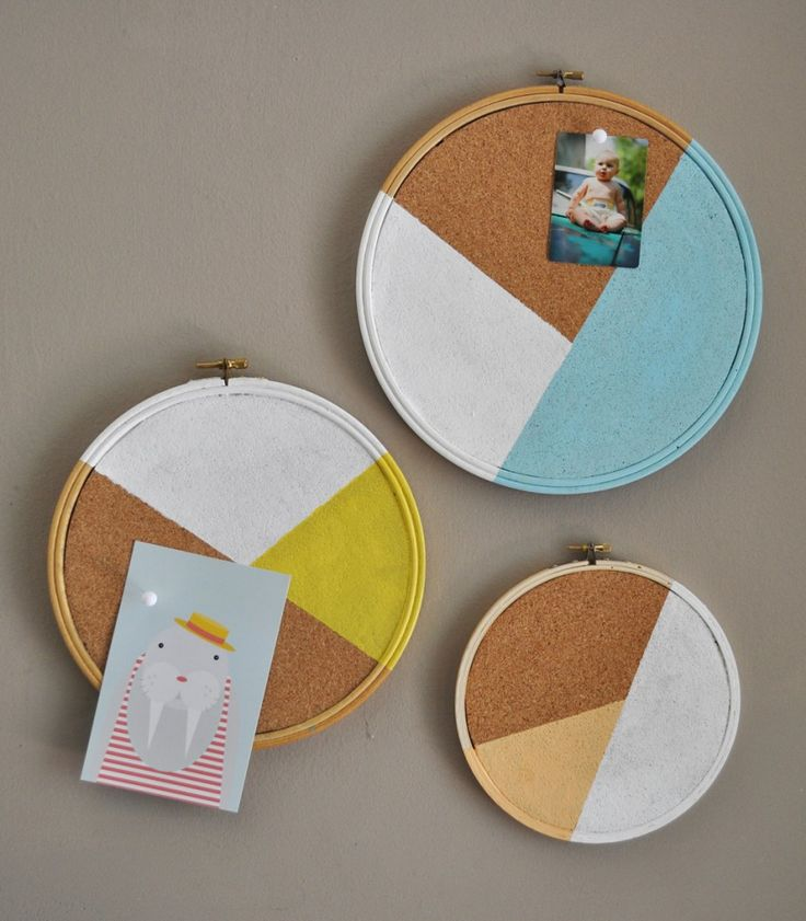 DIY cork boards. Use embroidery hoops, cork, and paint