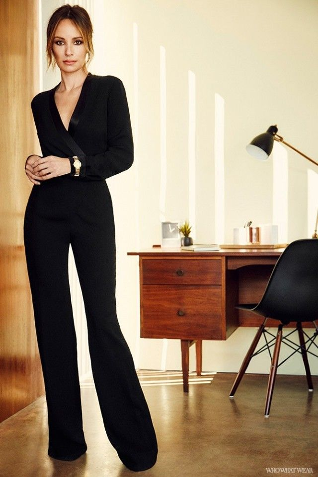 "This black tuxedo jumpsuit is a stunning alternative to an evening dress. Where do you see yourself wearing it? ""I would wear this to an evening event where I want to come across as strong..."