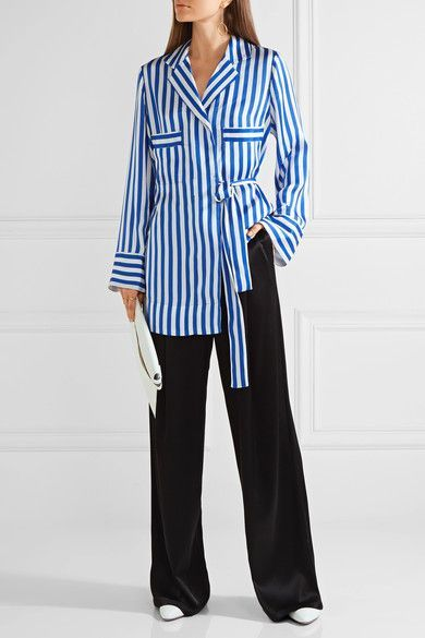 Blue and white striped satin Concealed button fastenings through front 100% polyester; trim: 100% silk Machine wash
