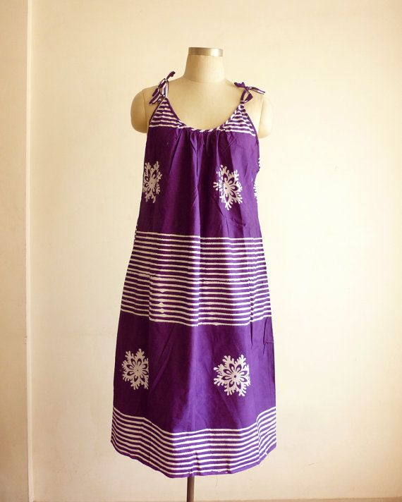 S / M / L   Purple and white floral n stripes by ADifferentWeave