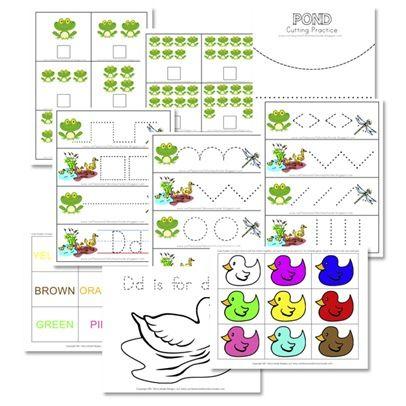 Pond-themed Printable Preschool Pack