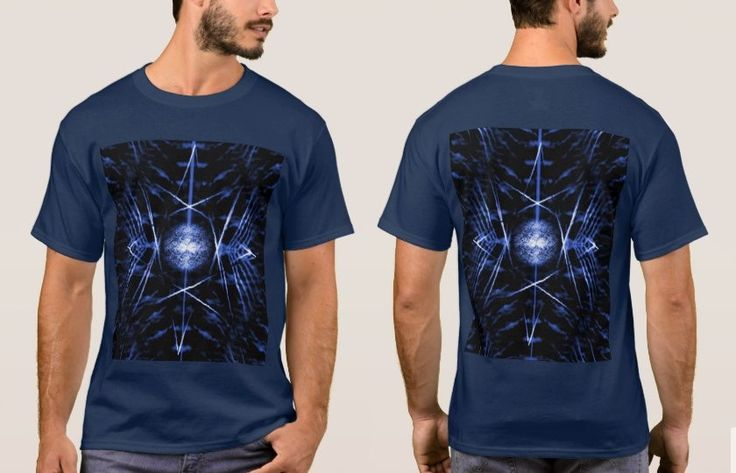 Men's Navy T-Shirt with Spiny Black, Royal Blue and White Digital Art