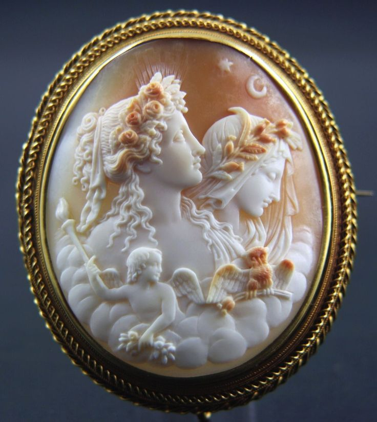 Extra-large 15k Victorian Shell Cameo Brooch of Goddess Day and Night