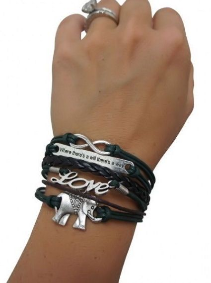 Elephant Infinity & Love Bracelets <3 Where There's a Will There's a Way