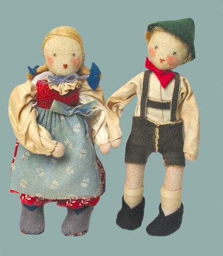 "Wonderful Set of Cloth Dolls German 5 1 2"" ea Hand Painted Faces 