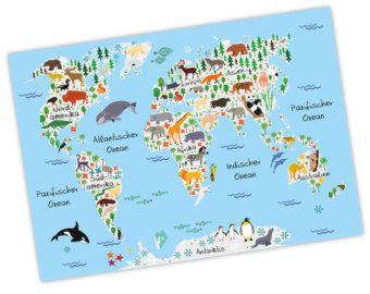 New bezaubernde Kinder Weltkarte Grau A A A nikima in verschiedenen Gr en