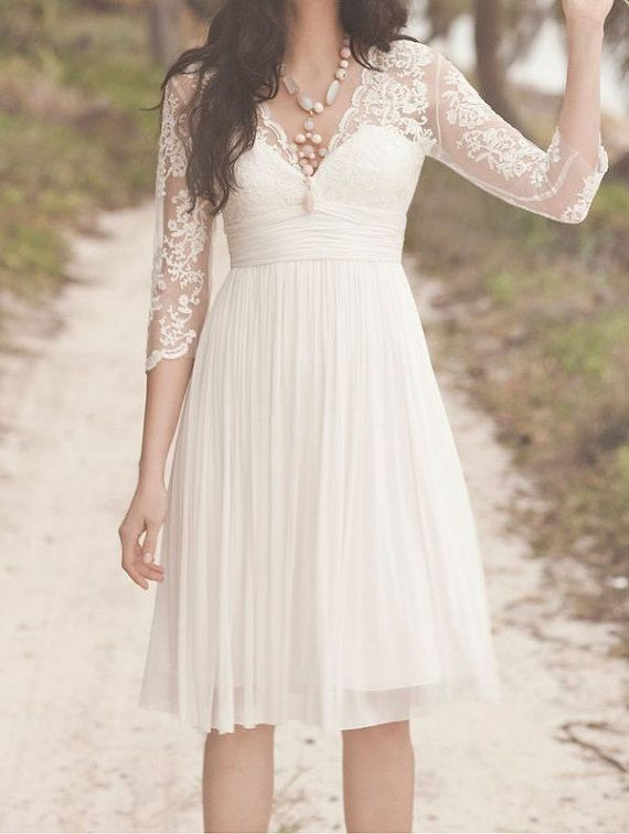 Long sleeves white lace chiffon wedding dress a line v for Short lace wedding dress with long sleeves