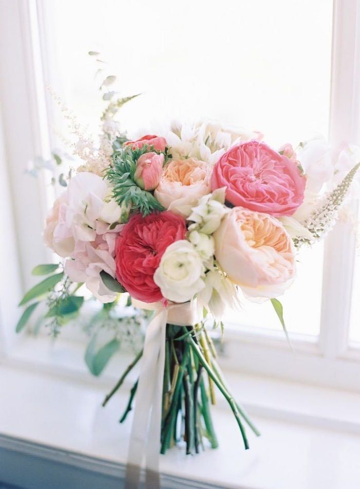 Photographer: The Great Romance; Loving the different shades of pink in this beautiful wedding bouquet.