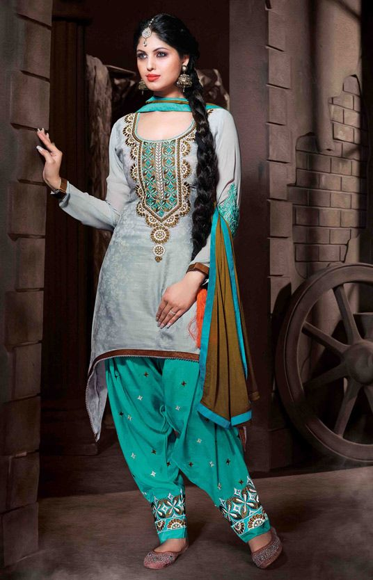 USD 35.77 Gray Cotton Silk Punjabi Suit 48019
