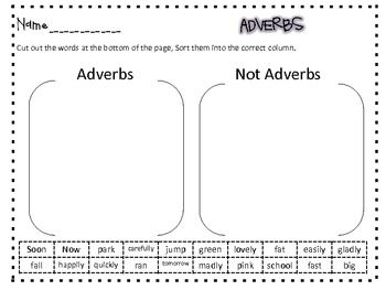 A great sort for your students. This will be a quick check for you to see if they can tell the difference between adverbs and words that aren't adv...