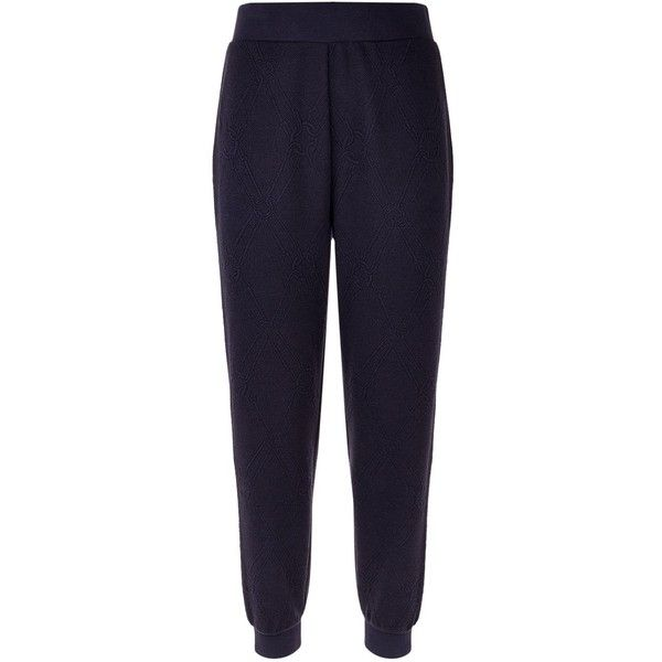 Escada Sport Patterned Sweatpants ($225) ❤ liked on Polyvore featuring activewear, activewear pants, tapered sweat pants, blue sweatpants, cotton jersey, escada sport and blue sweat pants