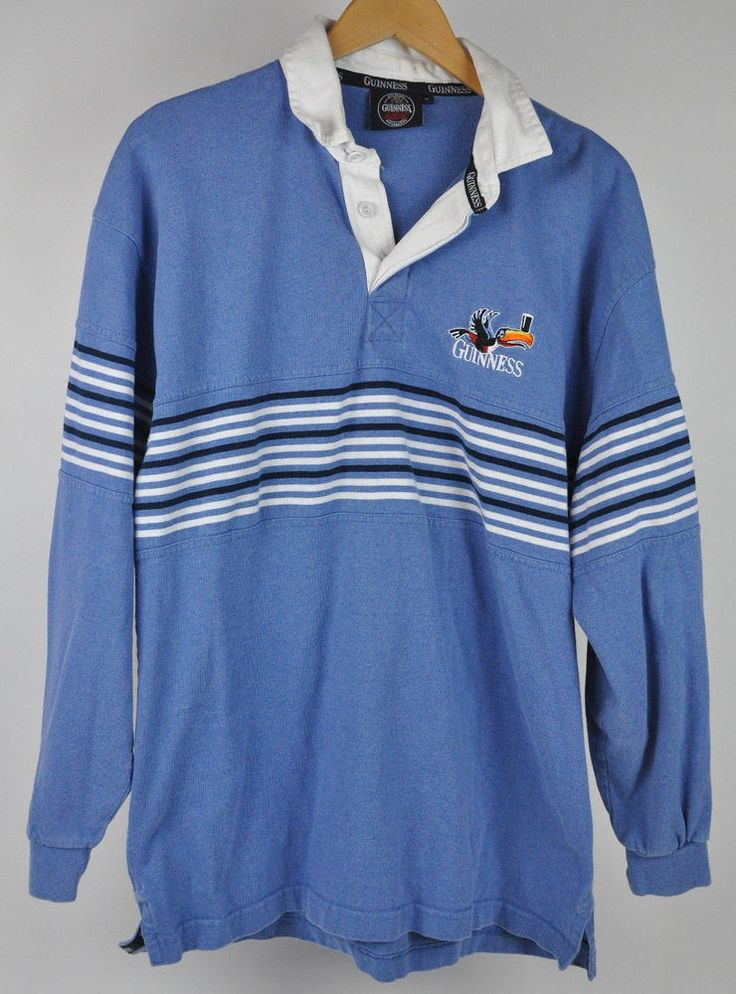 GUINNESS Beer Merchandise L/S Toucan BLUE Striped SHIRT Polo RUGBY Men's Sz XL #Guinness #PoloRugby