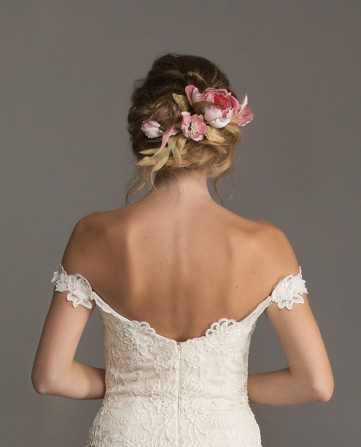 Autumn Inspiration - Silk Floral headpiece found at Calèche. With off the shoulder 'Breanne' Calèche wedding dress x