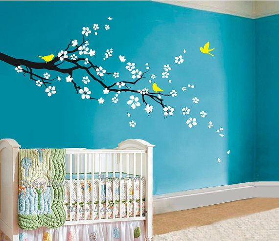 Beautiful wall art for a nursery. I love the bold contrasting colours.