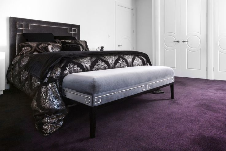 Bed Head & Ottoman with Silver Stud Design
