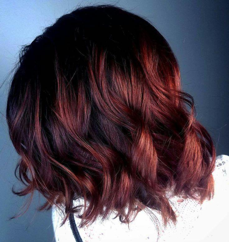 Dark red natural red balayage on short hair. Bob lob balayage hair by Ashton @ Splat Hair Design