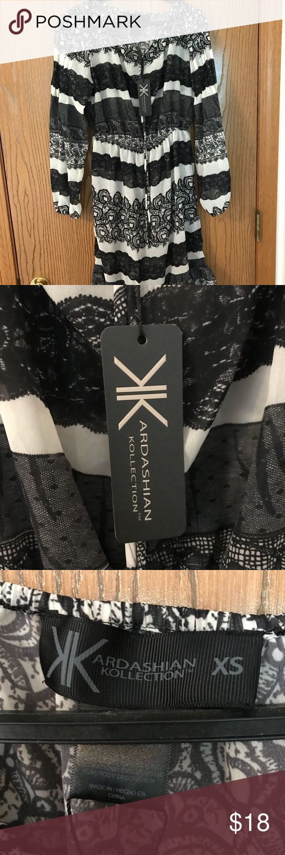 NWT Kardashian Kollection Dress XS Black and White Brand new with tags. From the Kardashian Kollection. Black and white print. Very flowy. It is see through. Used as a cover up or with an under dress! Feel free to ask questions and make offers :) Kardashian Kollection Dresses Long Sleeve