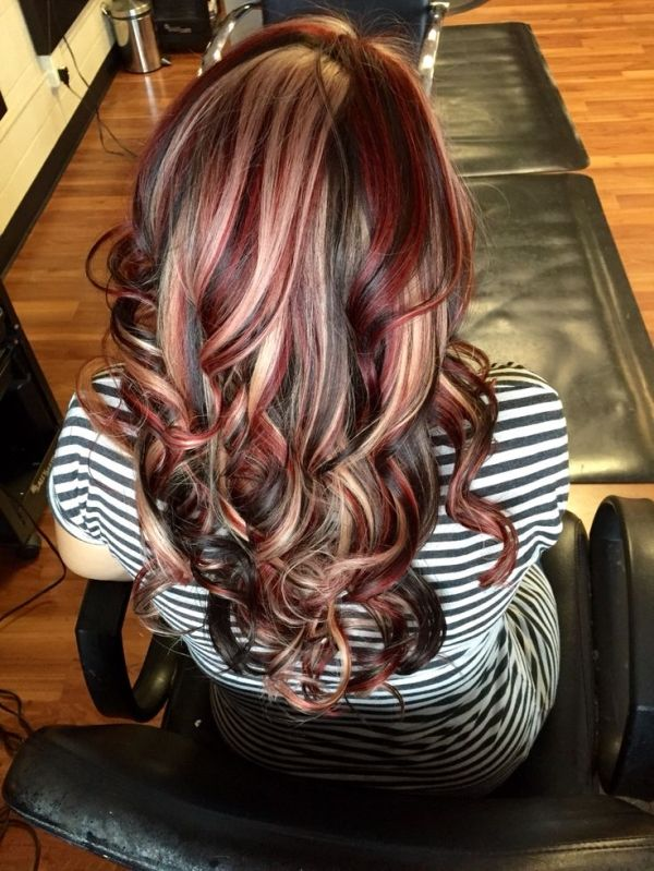 Hair by Heather. Chunky highlight lowlight with black red and blonde. by Divonsir Borges
