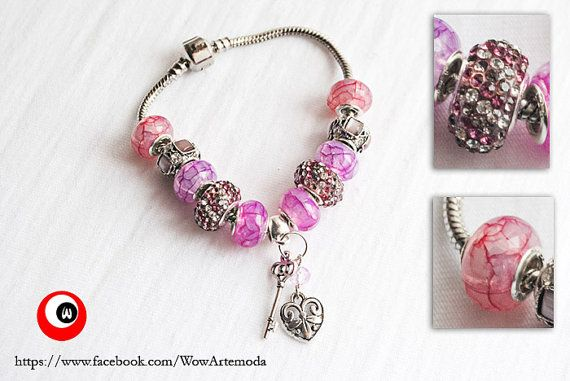 European Style Bracelet in Pink Tone with little and bright strassCharms, broken glass effect charms and key and heart pendant by WoWArteModa, €9.90